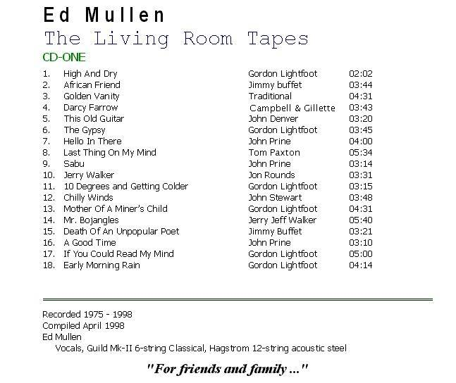 The Living Room Tapes - CD1 Back Cover