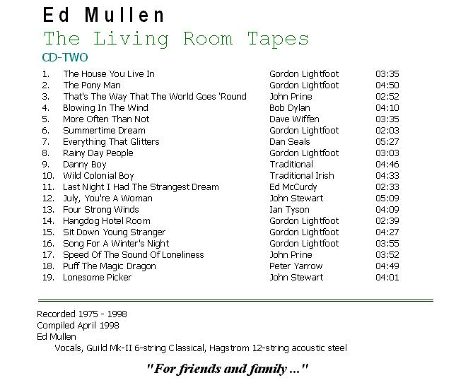 The Living Room Tapes - CD2 Back Cover